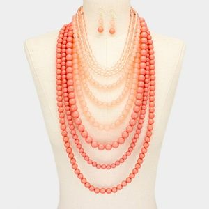 Coral Two Tone Long Beaded Multi Strand Necklace